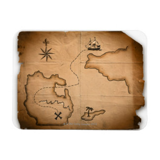 Close up of antique world map with ship route rectangular photo magnet