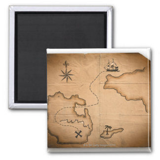 Close up of antique world map with ship route square magnet
