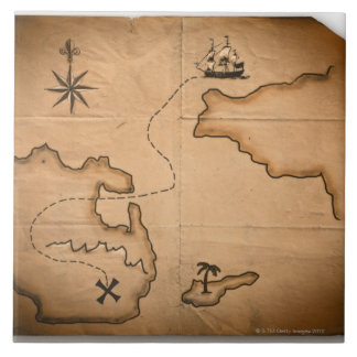 Close up of antique world map with ship route tile