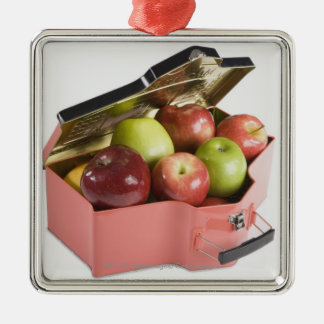 Close-up of apples in a box Silver-Colored square decoration