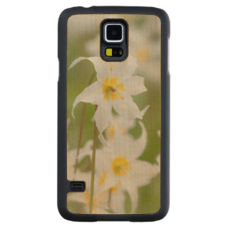 Close-up of avalanche lilies carved maple galaxy s5 case