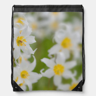 Close-up of avalanche lilies drawstring bag
