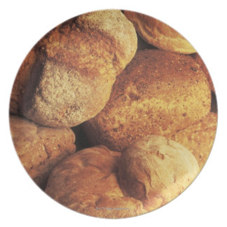 close-up of baked bread dinner plates