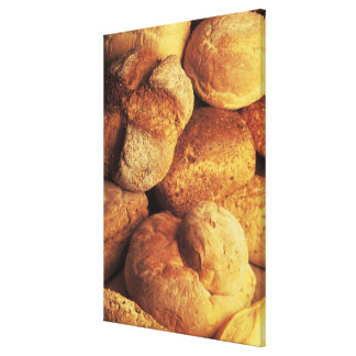 close-up of baked bread stretched canvas prints