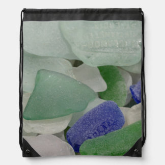 Close up of beach glass, Alaska Drawstring Bag
