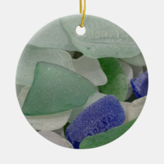 Close up of beach glass, Alaska Round Ceramic Decoration