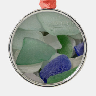Close up of beach glass, Alaska Silver-Colored Round Decoration