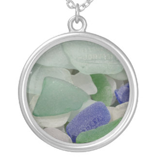 Close up of beach glass, Alaska Silver Plated Necklace