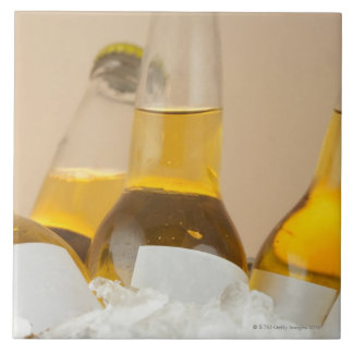 Close-up of beer bottles in ice large square tile