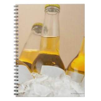 Close-up of beer bottles in ice notebook