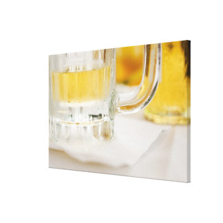 Close up of beer in glass canvas print