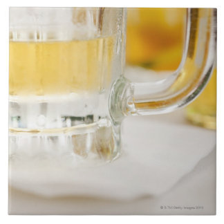 Close up of beer in glass tile