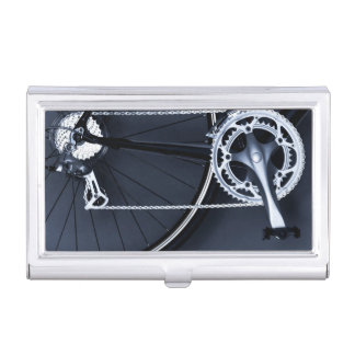Close up of bicycle chain, pedal and gears business card holder