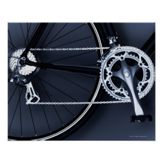 Close up of bicycle chain, pedal and gears poster