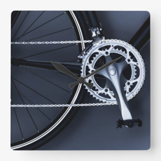 Close up of bicycle chain, pedal and gears square wall clock