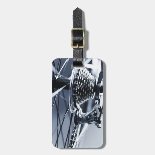 Close up of bicycle gears 2 luggage tag