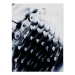Close up of bicycle gears poster