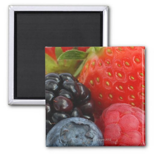 Close-up of blackberry, blueberry and magnets