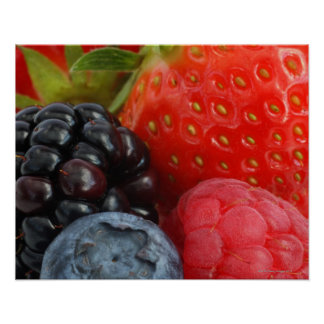 Close-up of blackberry, blueberry and poster
