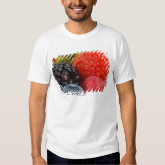 Close-up of blackberry, blueberry and tee shirts