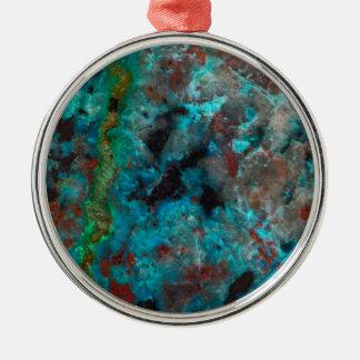Close up of blue Shattuckite Christmas Ornament