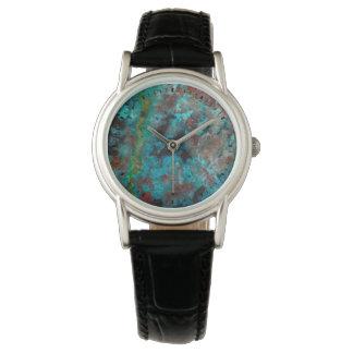 Close up of blue Shattuckite Watch