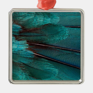 Close up of blue wing feathers christmas ornament