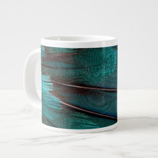 Close up of blue wing feathers large coffee mug