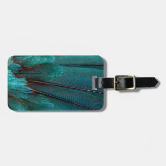 Close up of blue wing feathers luggage tag