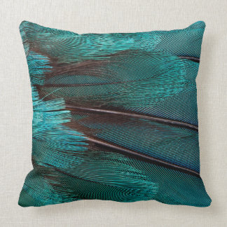 Close up of blue wing feathers throw pillow