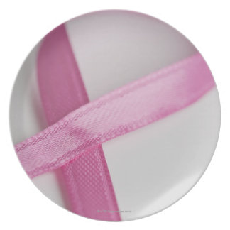 Close up of Breast Cancer Awareness Ribbon Dinner Plates