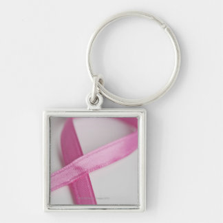 Close up of Breast Cancer Awareness Ribbon Silver-Colored Square Key Ring
