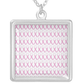 Close up of Breast Cancer Awareness Ribbons Silver Plated Necklace