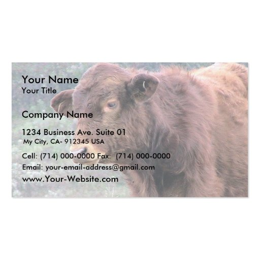 Close-Up Of Brown Hairy Cow In A Wide Meadow Business Card Template