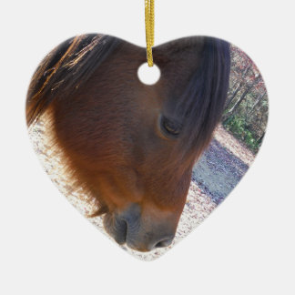 Close up of Brown horse, Little Brown Pony Ceramic Heart Decoration