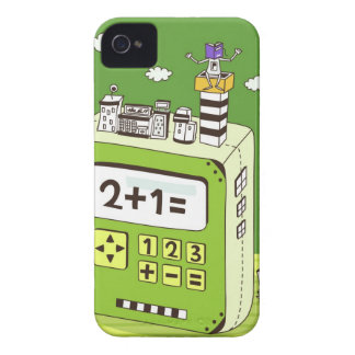 Close-up of buildings on a calculator iPhone 4 Case-Mate case