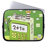 Close-up of buildings on a calculator laptop sleeve