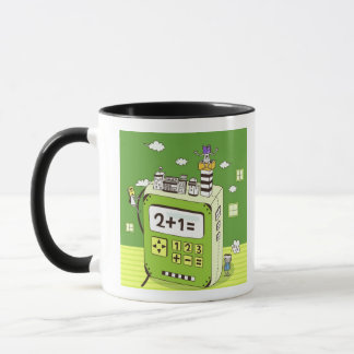 Close-up of buildings on a calculator mug
