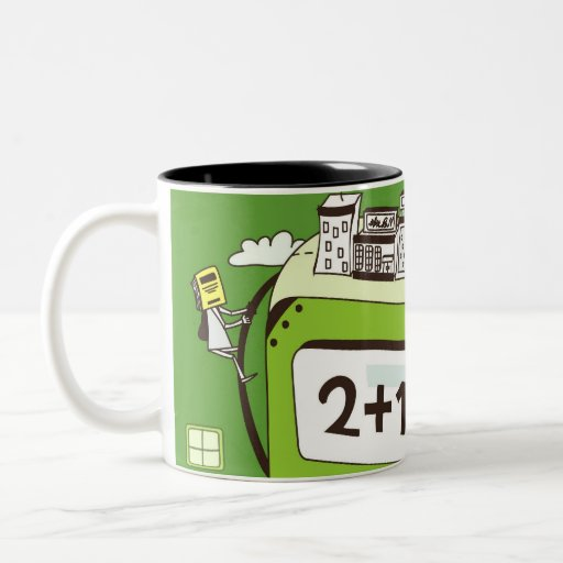 Close-up of buildings on a calculator mugs