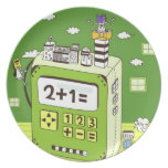 Close-up of buildings on a calculator party plates
