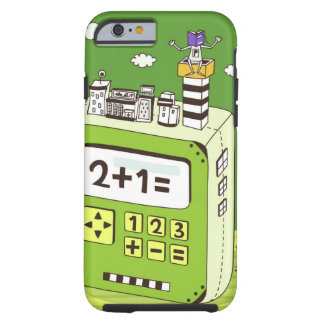 Close-up of buildings on a calculator tough iPhone 6 case