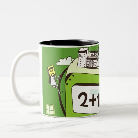 Close-up of buildings on a calculator Two-Tone coffee mug