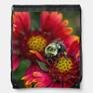 Close-up of bumblebee with pollen basket drawstring bag