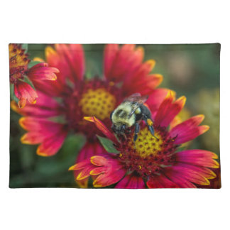 Close-up of bumblebee with pollen basket placemat