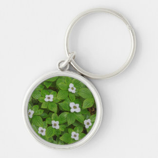 Close-up of bunchberry with white flowers key ring