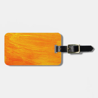 Close-up of canvas painting luggage tag