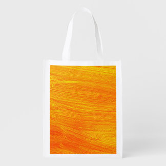 Close-up of canvas painting reusable grocery bag