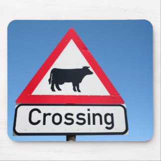 Close-Up Of Cattle Crossing Sign. Western Cape Mouse Mat