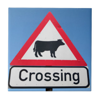 Close-Up Of Cattle Crossing Sign. Western Cape Tile
