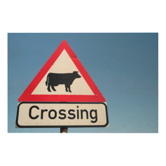 Close-Up Of Cattle Crossing Sign. Western Cape Wood Wall Decor
